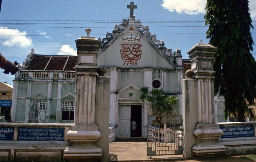Ny Jerusalems Kirke, Trankebar. Foran kirkens alter er pionermissionær Bartholomäus Ziegenbalg begravet.