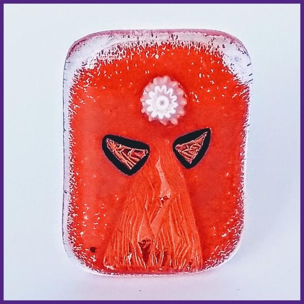 Lommeengel i rødt glas