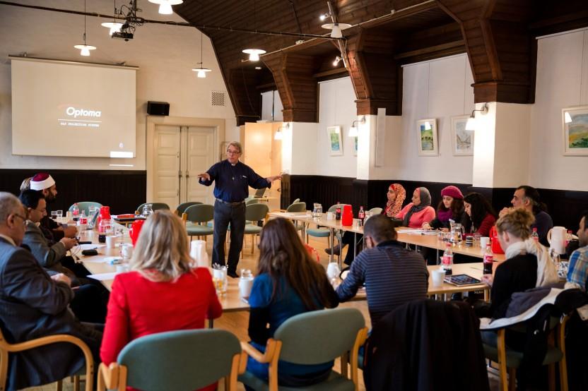 Undervisningssporet Religion, integration og politisk deltagelse, hvor deltagerne hørte om Københavns kommunes integrationsinitiativer. Fotograf: Søren Kjeldgaard
